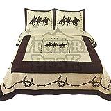 Western Peak 3 Pc Luxury Western Texas Cross Praying Cowboy Horse Cabin Lodge Barbed Wire Quilt Bedspread Oversize Comforter (King, Beige Horseshoe)