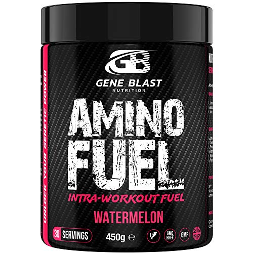 GENE BLAST Amino Fuel - Intra-Workout BCAA-EAA Supplement with 9 Essential Amino Acids, Coconut Water Powder, Glutamine, S7 Nitric Oxide Booster - Muscle Growth & Exercise Support 450 g (Watermelon)