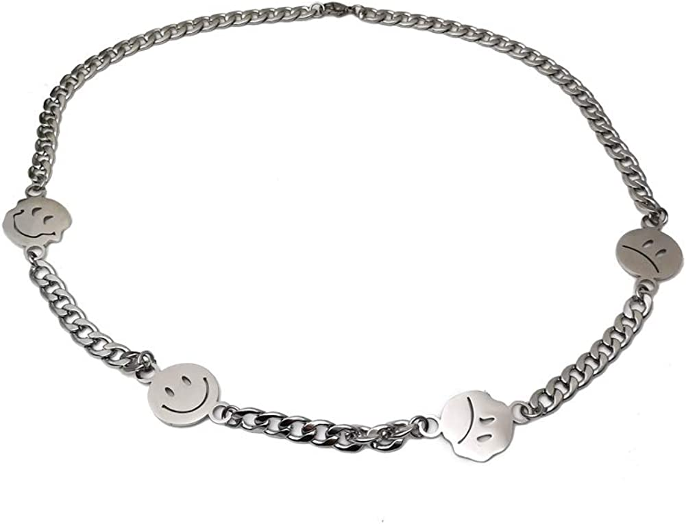 Stainless Steel Smiley Chain Necklace Punk Hip Hop Street Dance Rock Necklace for Men Women
