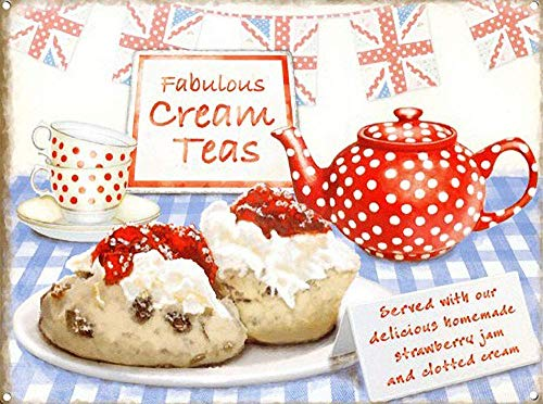 Metal Warning Board,16x12,Fabulous Cream Teas Best of British No.948 Wall Sign Art Iron Painting Retro Metal Plaque Decor Warning Signs for Cafe Bar Supermarket Cafeteria Home