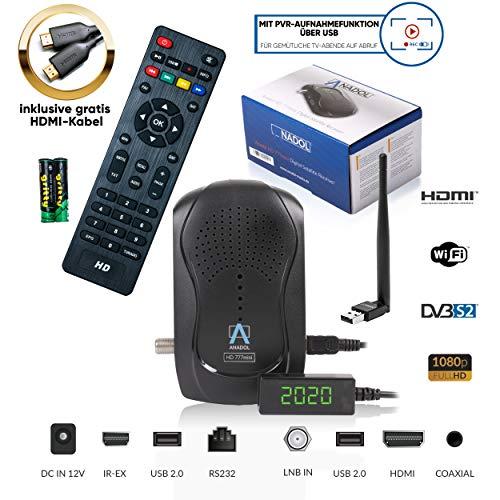 Anadol HD 777 1080p HDTV HD digitale mini-satellietontvanger - 1080p mini-receiver met PVR opnamefunctie Timeshift - mini receiver vooraf geïnstalleerd voor Astra - 12V Camping + HDMI-kabel & USB WiFi Stick