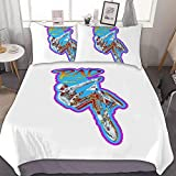 FULU Bedding Set of 3 (1 Cover, 2 Bed Pillowcase Without Sheet) Rad BMX Movie Printing Patterns Soft, Breathable, Zipper, Quilt Cover, Pillowcase, Bedding color27 One Size
