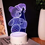 TigerX LED Night Light for Kid's, Christmas Light, 7 Changeable RGB Color, Table Lamp with Touch Sensor (Lovely Bear)