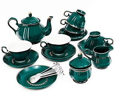 22-Piece Porcelain Ceramic Coffee Tea Gift Sets, Cups& Saucer Service for 6, Teapot, Sugar Bowl, Creamer Pitcher and Teaspoons.