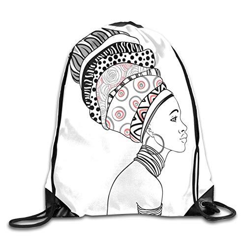 Mochila con diseño de safari exótico para mujer en boho, turbante, estilo folklórico, con cordón, para deporte, gimnasio, viaje