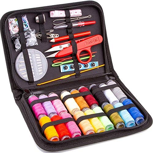 MYFOXI Sewing Kit for Adults Kids Travel Home Sew Repair 140pc Accessories Mini Set in Zippered product image