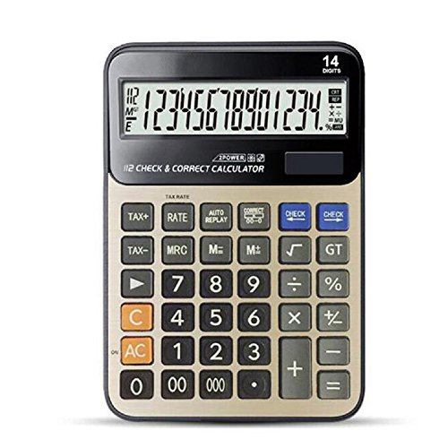 Calculator, Professional Desk Standard Tax Calculator Financial Office/Business/Scientific Calculators with 14-Digit Large Display Calculator Solar and AA Battery Dual Power Gold