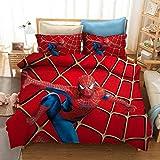 Amacigana Parure de lit Spiderman pour enfant avec housse de couette et taie d'oreiller en microfibre pour lit simple, double, super king size (A06, King 240 x 220 cm)