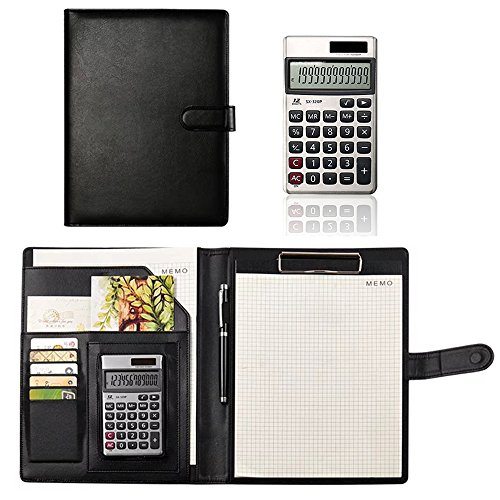 Oficina Negocio B5 Carpeta para Conferencia Cuadernos Documentos Clip Piel Universidad Papelería Personal Portafolios Organizador Tarjeta Notebook con Calculadora Negra