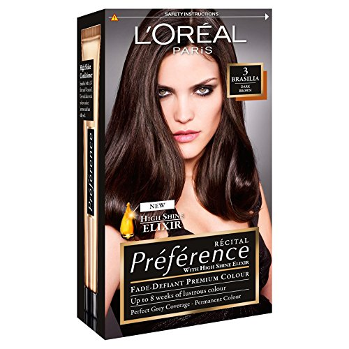 3 x L'Oreal Paris Recital Preference Permanent Colour 3 Brasilia Dark Brown