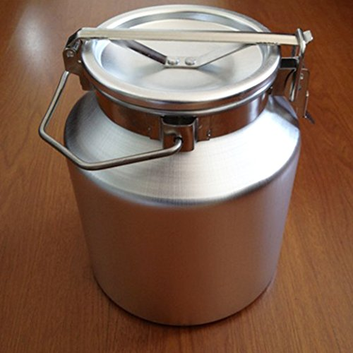 Wotefusi Goat Milk Bucket Aluminum Alloy Sealed Capacity 5L Milk Water Tea Wine Liquid Collecting Storage Transport Tank Container Barrel