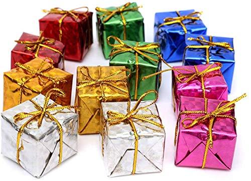 BJ-SHOP Decoración de árboles de Navidad Caja de Regalo Colgante Conjunto de Pequeñas Cajas de Regalo para árboles de Navidad Decoraciones Colgantes 3 cm 12 Piezas