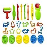 26pcs Plástico Plastilina Modelo Herramientas del del Juguete Educativo Creativo 3D De Plastilina con Herramientas del Moho De Fango Juguetes para Niños (Color Azar)