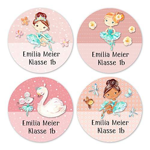 24 individuelle Namensaufkleber zum Markieren von Heften und Schul-Büchern - Ballerina - personalisierte Sticker für Kinder - Geschenk zur Einschulung - Perfekt für die Schule - Schulbuchetiketten