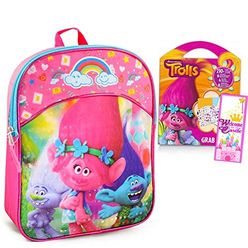 Trolls Mini Backpack for Girls ~ 3 Pc Bundle With 11' Poppy Trolls School Bag for Toddlers Preschoolers Kindergarten, Stickers, Door Hanger and More (Trolls School Supplies)