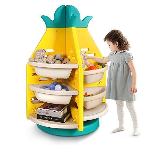 Yoleo Toy Storage Organizers, Kids Playroom Furniture, Toddler Bedroom Toys Room Rack, 360° Revolving, W28.7'' H40.9'' Yellow Pineapple Shape