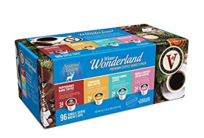 Victor Allen 's Coffee Flavored Variety Pack, Peppermint Bark, Cinnamon Bun, Sugar Cookie, Vanilla Buttercream, Single Serve Coffee Pods for Keurig K-Cup Brewers, Winter Wonderland, 96 Count