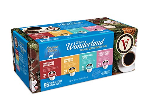 Victor Allen s Coffee Flavored Variety Pack, Peppermint Bark, Cinnamon Bun, Sugar Cookie, Vanilla Buttercream, Single Serve Coffee Pods for Keurig K-Cup Brewers, Winter Wonderland, 96 Count