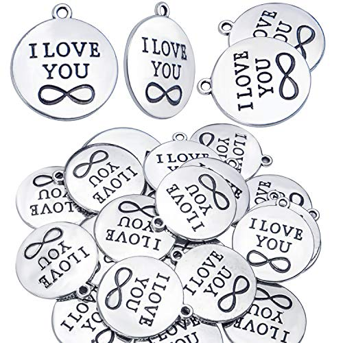 Words Charm Pendants, 30 Pieces Alloy Messages Saying Charms Lettering Pendant Beads Craft Supplies for DIY Necklace Bracelet Jewelry Making (I LOVE YOU Charms) - 24mm Diameter