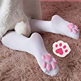 BIUBIULOVE Cuscino di carne di gatto Calze al ginocchio Cos Calze di gatto Calze a zampa Calze Lolita Overknee, Calze di gatto 3D carino, Calze tridimensionali con artiglio di gatto (bianca)