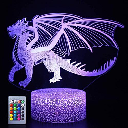 3D Dinosaure LED Lampe Art Déco Lampe Lumières LED Décoration Maison Enfants Cadeau Lumière Télécommande 7/16 Couleurs Change Alimenté par Alimenté par USB Lampe Bureau