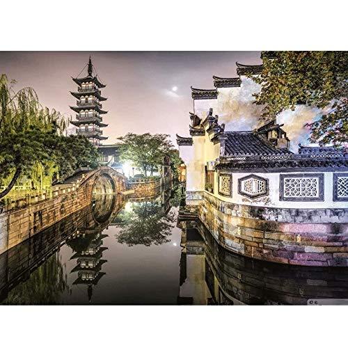 China Ciudades antiguas y ciudades del agua de China Puzzle clásico Jigsaw 500 1000 1500 2000 3000 Piezas para adultos Difíciles Decoración de regalo de regalo de rompecabezas de rompecabezas de rompe