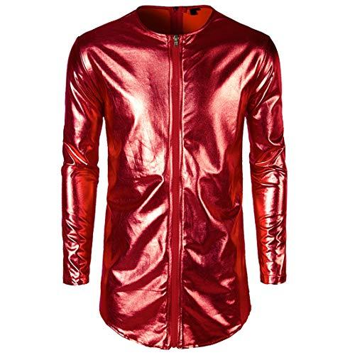 Yczx Herren Metallic Jacken Mode Glänzende Langarm Tops Lässig Lange Jacken Retro 70er Jahre Disco...