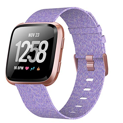 XIMU Bands Compatible with Fitbit Versa / Versa 2 / Versa Lite, Soft Woven Fabric Replacement Band Quick Release Canvas Strap Wristbands Accessories Women Men for Versa Smart Watch