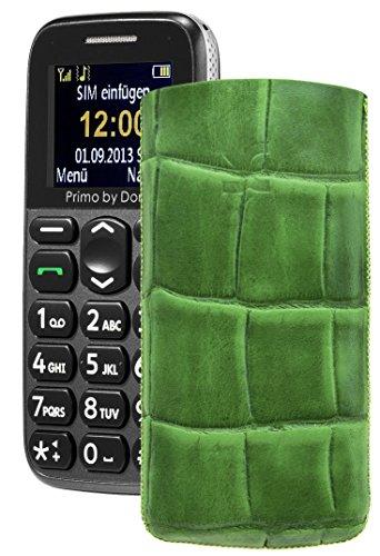 Primo 365 by Doro / Original Suncase Etui Tasche Leder Etui Handytasche Ledertasche Schutzhülle Hülle Hülle Lasche *mit Rückzugfunktion* croco-grün