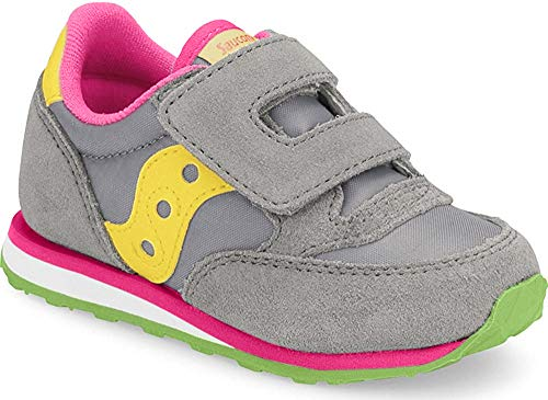Saucony Boy's Baby Jazz Hook & Loop Sneaker, grey/red, 11 Medium US Little Kid