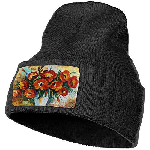Red Flower Art Gorros de Punto de Invierno Gorro de Punto Suave Gorro cálido para Hombres y Mujeres