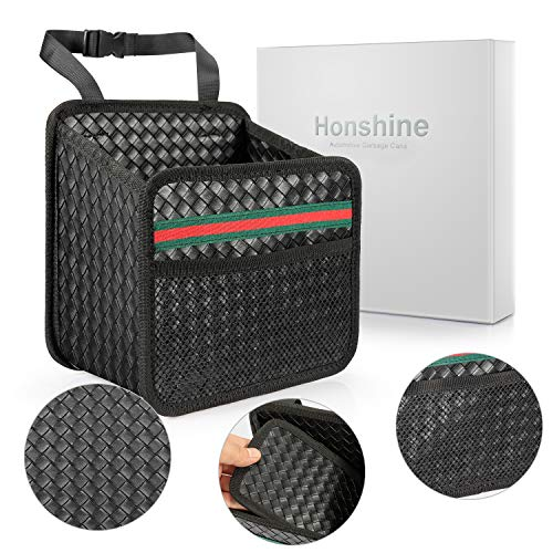 Honshine Car Trash can - Garbage Bag for Your auto with Back seat hangings,Black Leather Trash can with Foldable Design. (Stripes)