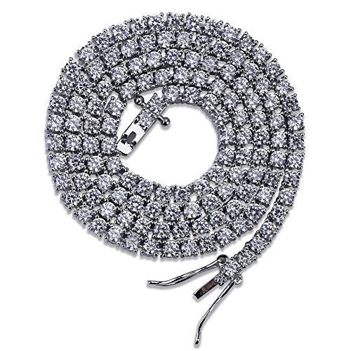 Collar de una Fila de Tenis de 3 mm, Cadena Punk Hip Hop Tendencia, para Hombres y Mujeres, con botón (Oro, Plata), 123, Plata, 22inch