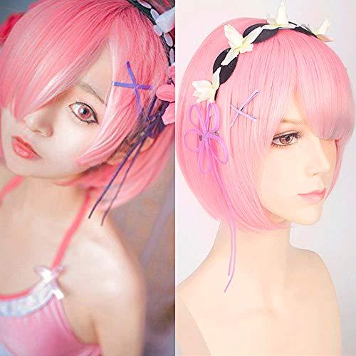 Creamily Peluca rosa corta Bob Ram para cosplay, peluca sintética para fiesta de pelo de anime, cero comenzando la vida en otro mundo