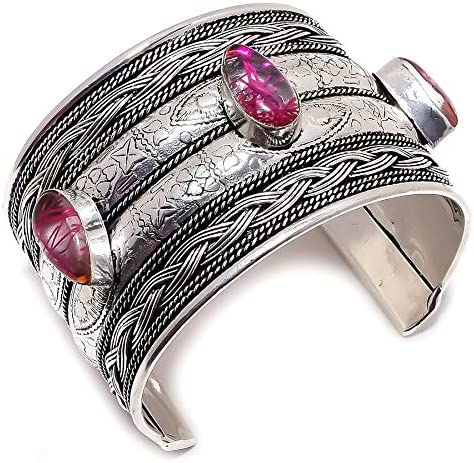 YUVI Red Rutilated Quartz Ethnic .925 Silver Jewelry Cuff Bracel