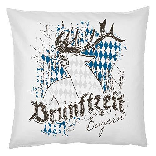 Kussen van echt leuk klederdracht-motief, decoratief sofakussen met vulling van Brunftzeit, Beieren, klederdracht-idee