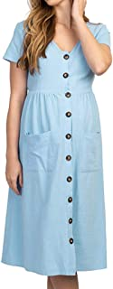 LEXUPA Women's Maternity Fashion Button Solid V Neck Short Sleeve Long Dress