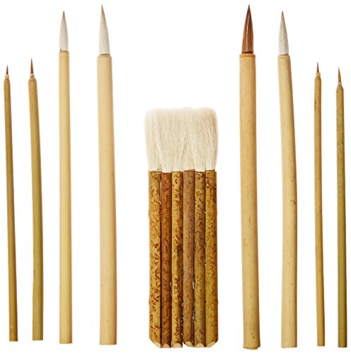 School Specialty Oriental Decorative Brush Set, Assorted Sizes, Set of 9 - 461000