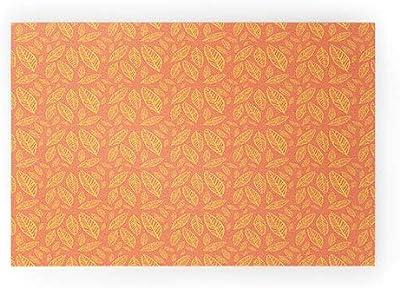 "Society6 Allyson Johnson Fall Leaves Pattern Welcome Mat, 30"" x 20"", Orange"