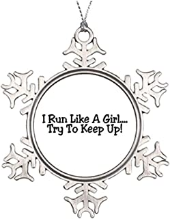 Diuangfoong Personalised Christmas Tree Decoration Track and Field I Run Like A Girl Try to Keep Up Vintage Snowflake Ornament