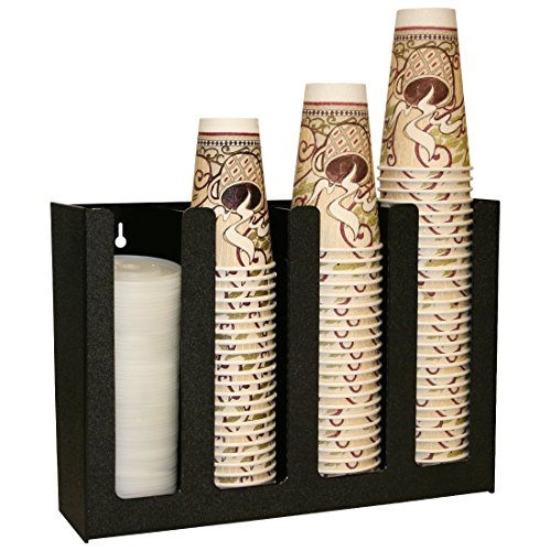 """1004PC-BLACK: Black Plastic Disposable Cup and Lid Holder 16.5"""" Wide x 12"""" Tall"""