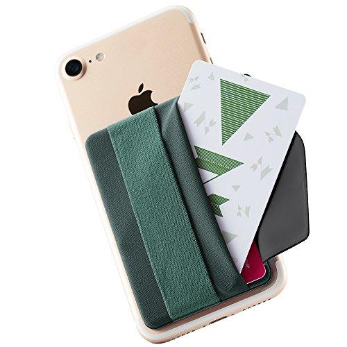 Sinjimoru Handy Kartenhalter mit Handygriff, Handy Halterung Finger mit Kartenfach, Smart Wallet, aufklebbare Mini Geldbörse mit Verschluss für iPhone & Android. Sinji Pouch B-Flap, Blau-Grau.