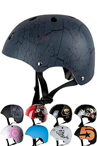Skullcap® BMX Helm - Skaterhelm - Fahrradhelm - Herren Damen Jungs & Kinderhelm, grau-schwarz, Gr. S (53 – 55 cm), Crack