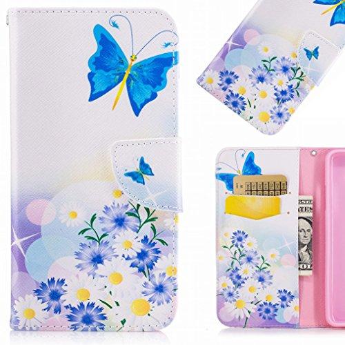 LEMORRY Per Huawei P8 Lite (2017) Custodia Pelle Cuoio Portafoglio Flip Borsa Protettivo Magnetico Morbido Silicone TPU Cover Custodia per Huawei P8 Lite (2017), Elegante Farfalla