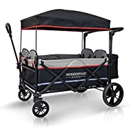 WONDERFOLD X4 Multi-Function Pull & Push 4 Passenger Quad Stroller Wagon with Removable Canopy, 5-Point Harness, and Reflective Safety Strip (Black, 4 Seats)