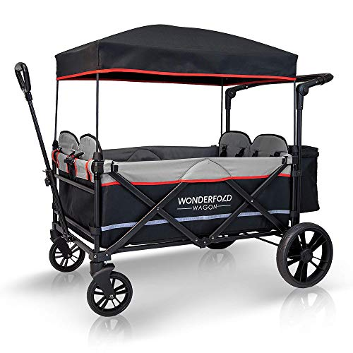 WONDERFOLD X4 4-Passenger Pull/Push Quad Stroller Wagon with Adjustable Handle Bar, Removable Canopy, Safety Seats with 5-Point Harness, One-Step Foot Brake (Black)