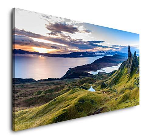 Paul Sinus Art Schottland Panorama 120x 60cm Panorama Leinwand Bild XXL Format Wandbilder Wohnzimmer Wohnung Deko Kunstdrucke