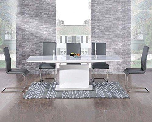 Oak Furniture House Anaheim - Set Composto da Tavolo da Pranzo 6 posti allungabile con sedie, Finitura Lucida, Colore: Grigio
