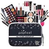 ISAKEN Kit De Maquillaje Multiusos, Paleta de Maquillaje Set Paleta de Sombras de Ojos, Kit básico de inicio Brillo de labios Brocha para Mujeres y Niñas Caja de Regalo Cosméticos