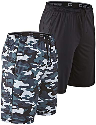 DEVOPS Men's 2 Pack Cool Chain 10-inch Loose-Fit Workout Training Shorts (Large, Black/Camo Gray)